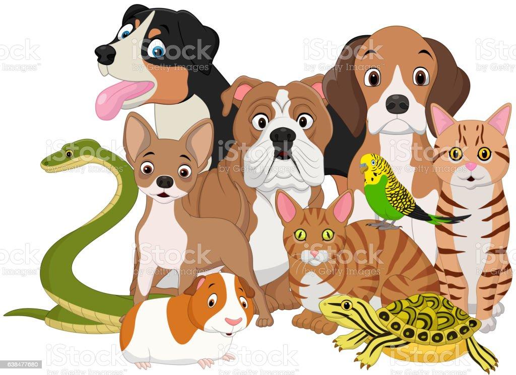 Group of pets cartoon - ilustración de arte vectorial