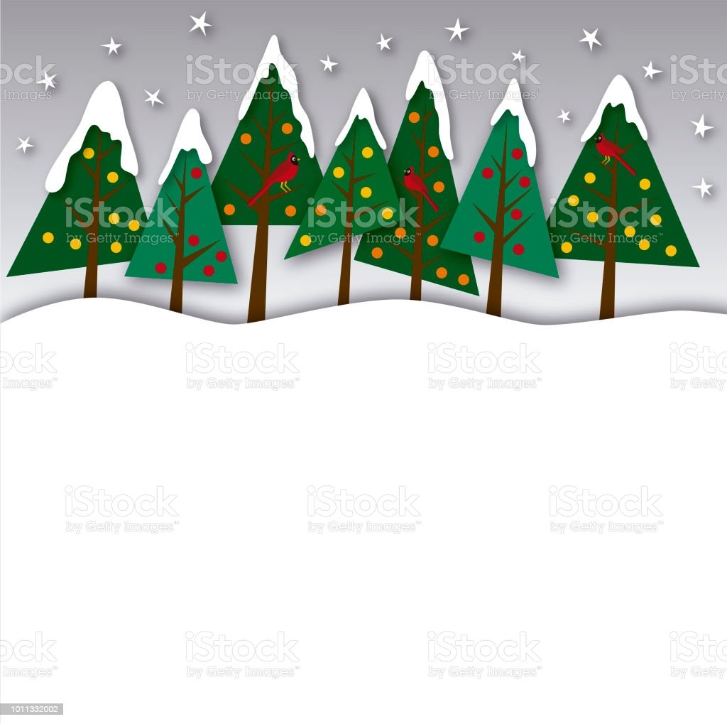 Group of pine trees at Christmas vector art illustration