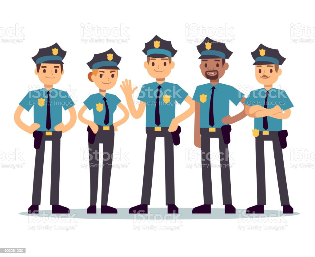 Group of police officers. Woman and man cops vector characters vector art illustration