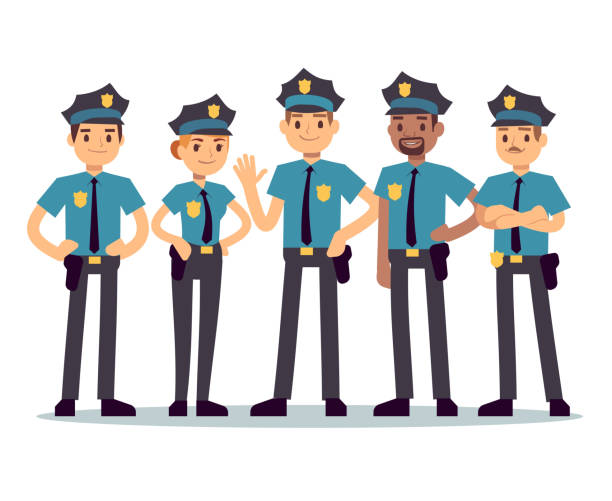 illustrazioni stock, clip art, cartoni animati e icone di tendenza di group of police officers. woman and man cops vector characters - polizia