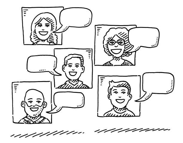 Group Of Portraits And Empty Speech Bubbles Drawing Hand-drawn vector drawing of a Group Of Portraits And Empty Speech Bubbles. Black-and-White sketch on a transparent background (.eps-file). Included files are EPS (v10) and Hi-Res JPG. women stock illustrations