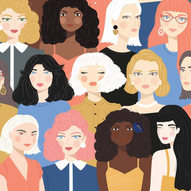 Group of portraits of diverse women, fight for equality concept, feminism, flat vector illustration vector art illustration