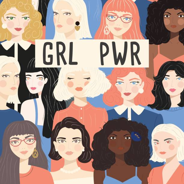 Group of portraits of diverse women, fight for equality concept, girl power message, feminism, flat vector illustration vector art illustration