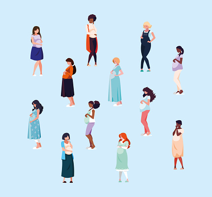 group of pregnant women avatar character