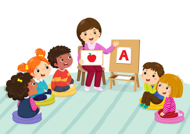 Group of preschool kids and teacher sitting on the floor.Teacher explaining alphabet to children Group of preschool kids and teacher sitting on the floor.Teacher explaining alphabet to children clip art stock illustrations