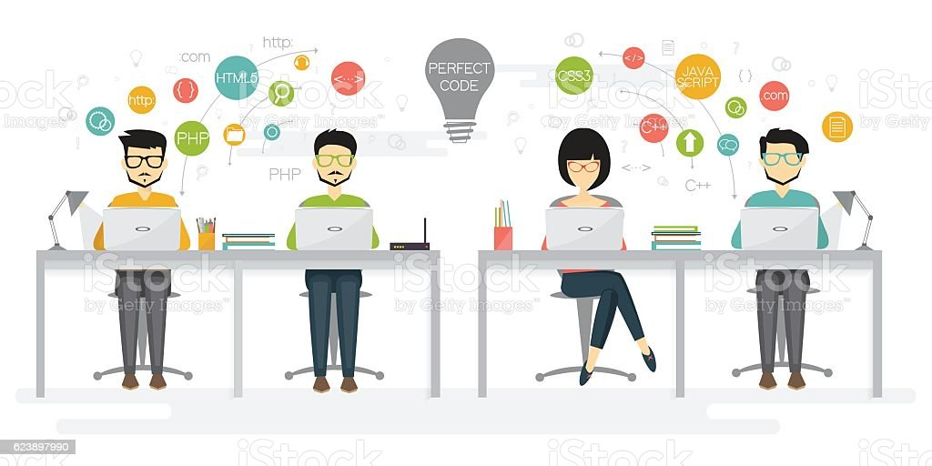 Group of programmers work together vector art illustration