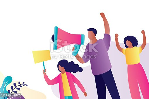 Group of protesters. African american people with placards and loudspeaker. Various characters isolated on white, place for text, template banner. Protest movement. Vector illustration