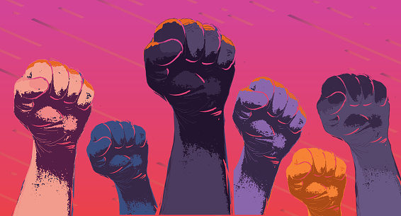 Vector illustration of a Group of colorful protesters or activists hands in the air. Can be used for Black empowerment protests , Rally's, Political Voting, Sexism and Racism social issues. Includes fully editable. vector eps 10.