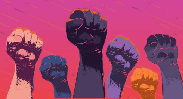 group of protesters or activists hands in the air - diversity stock illustrations