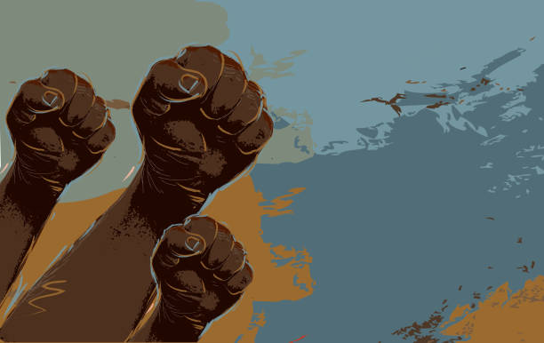 Group of protesters or activists hands in the air vector art illustration