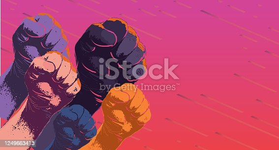 istock Group of protesters or activists hands in the air 1249663413