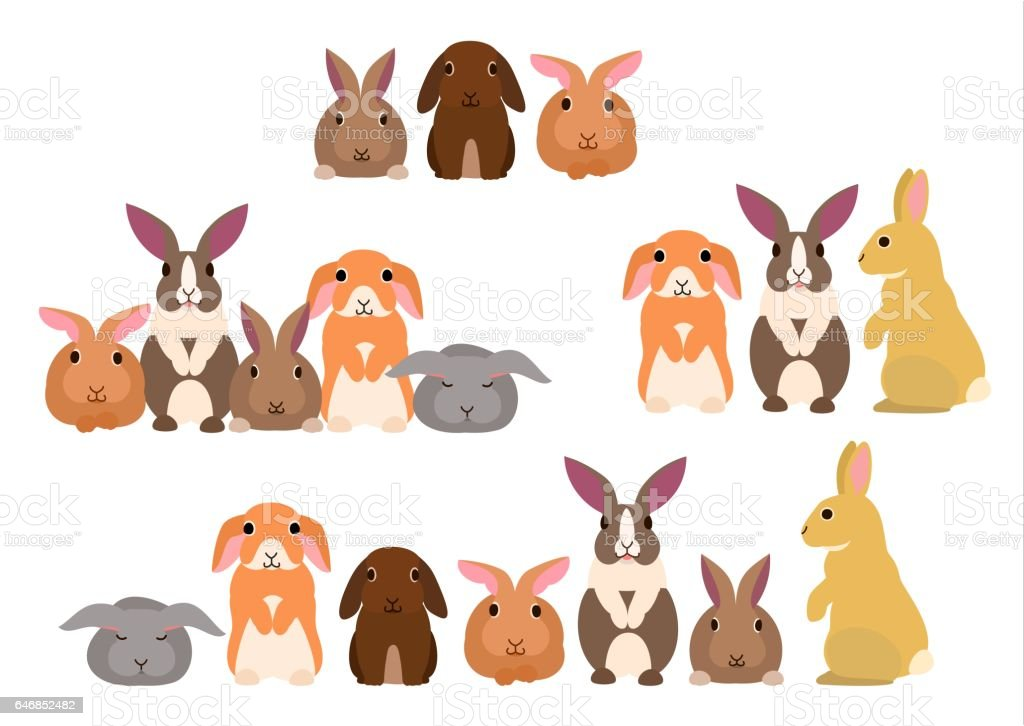 ウサギのグループ ベクターアートイラスト