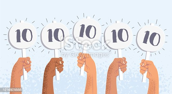 Group of raised human hands holding score cards with highest score. Juries assessment on the competition. Vector eps 10 illustration.