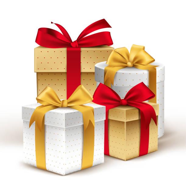 ilustrações de stock, clip art, desenhos animados e ícones de grupo de presentes coloridos realista 3d colorido com fitas de linha - gift box