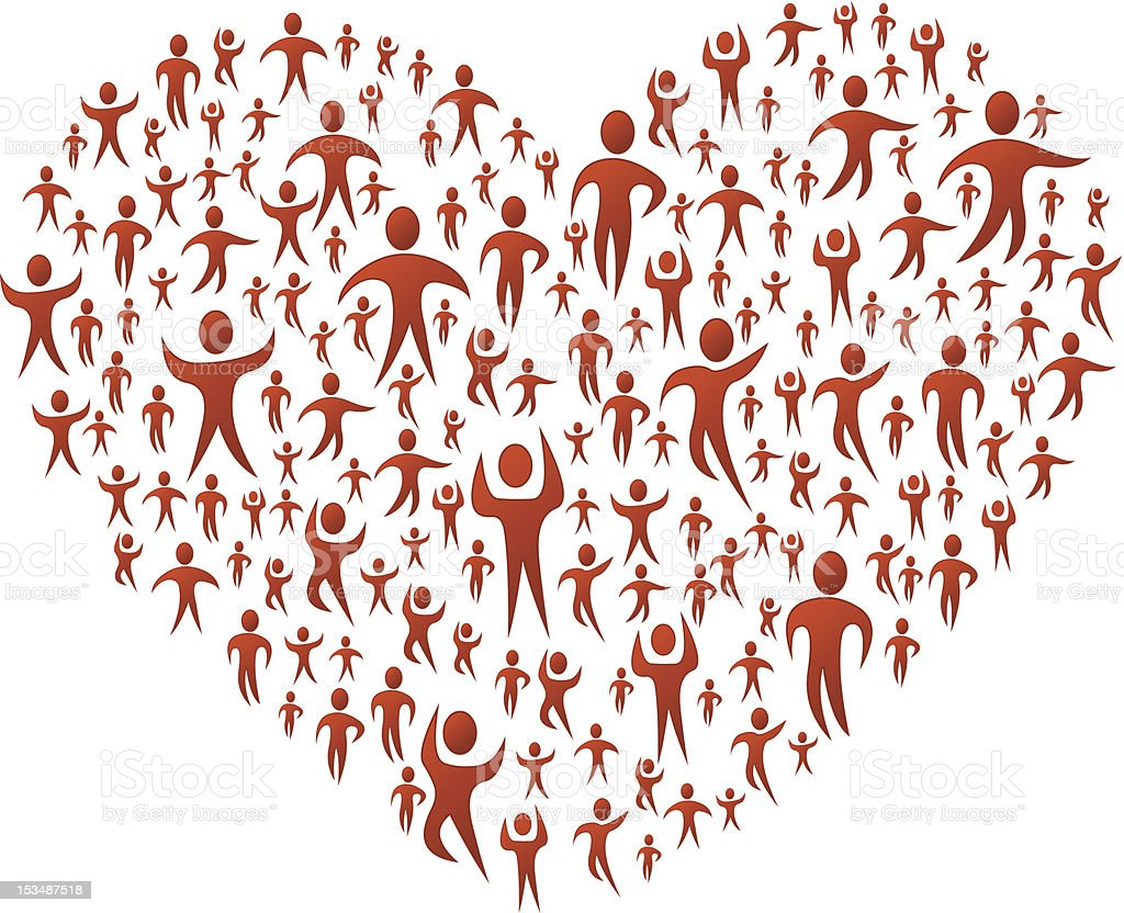 Group of red people forming a big heart royalty-free stock vector art
