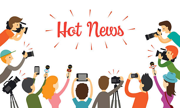 Eine Gruppe von Reporter, Journalist Interview – Vektorgrafik