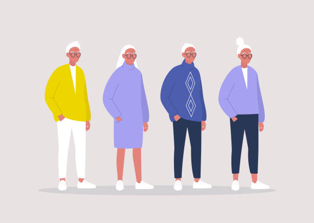 A group of retired female and male senior characters wearing casual clothes, an older generation of people A group of retired female and male senior characters wearing casual clothes, an older generation of people old stock illustrations