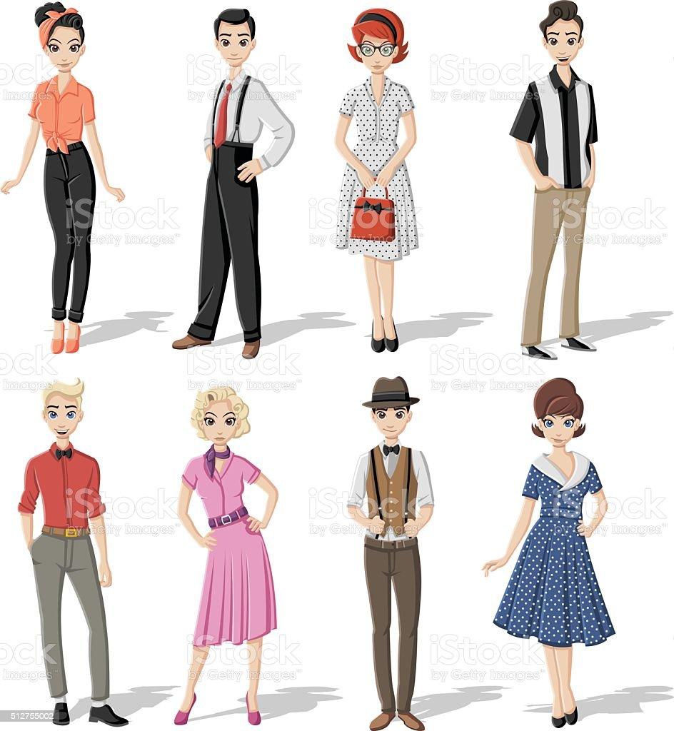 Group of retro people vector art illustration