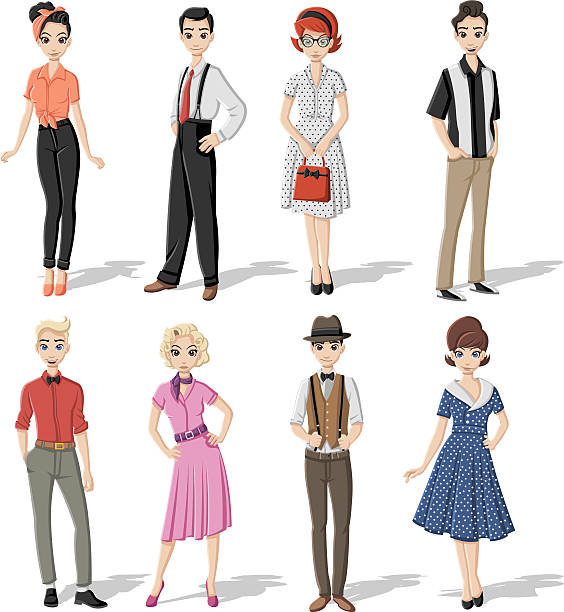 group of retro people - 1940s style stock illustrations