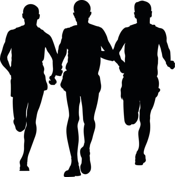 bildbanksillustrationer, clip art samt tecknat material och ikoner med grupp löpare män - three roads uphill