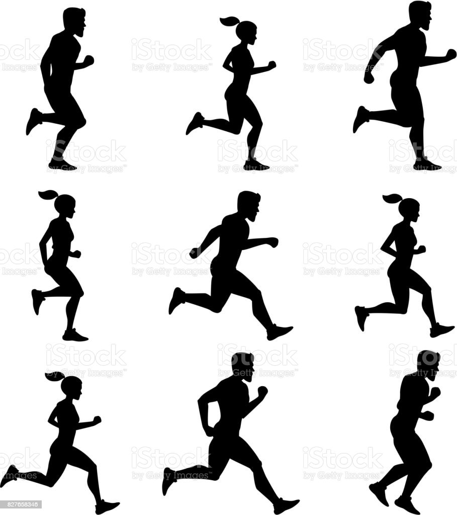 Silhouettes Of Male And Female Vector Illustrations Fitness Activities Royalty
