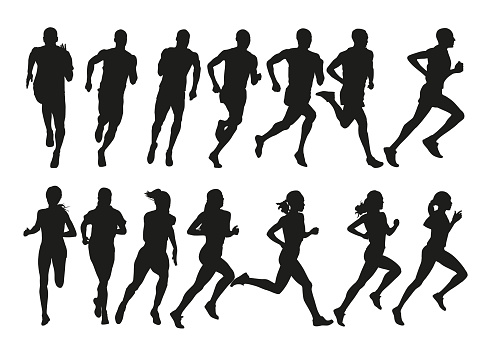 Group of running people, set of isolated vector silhouettes, side view