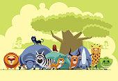 vector illustration of group of safari animals gathering