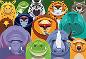 vector illustration of group of safari  animals gathering