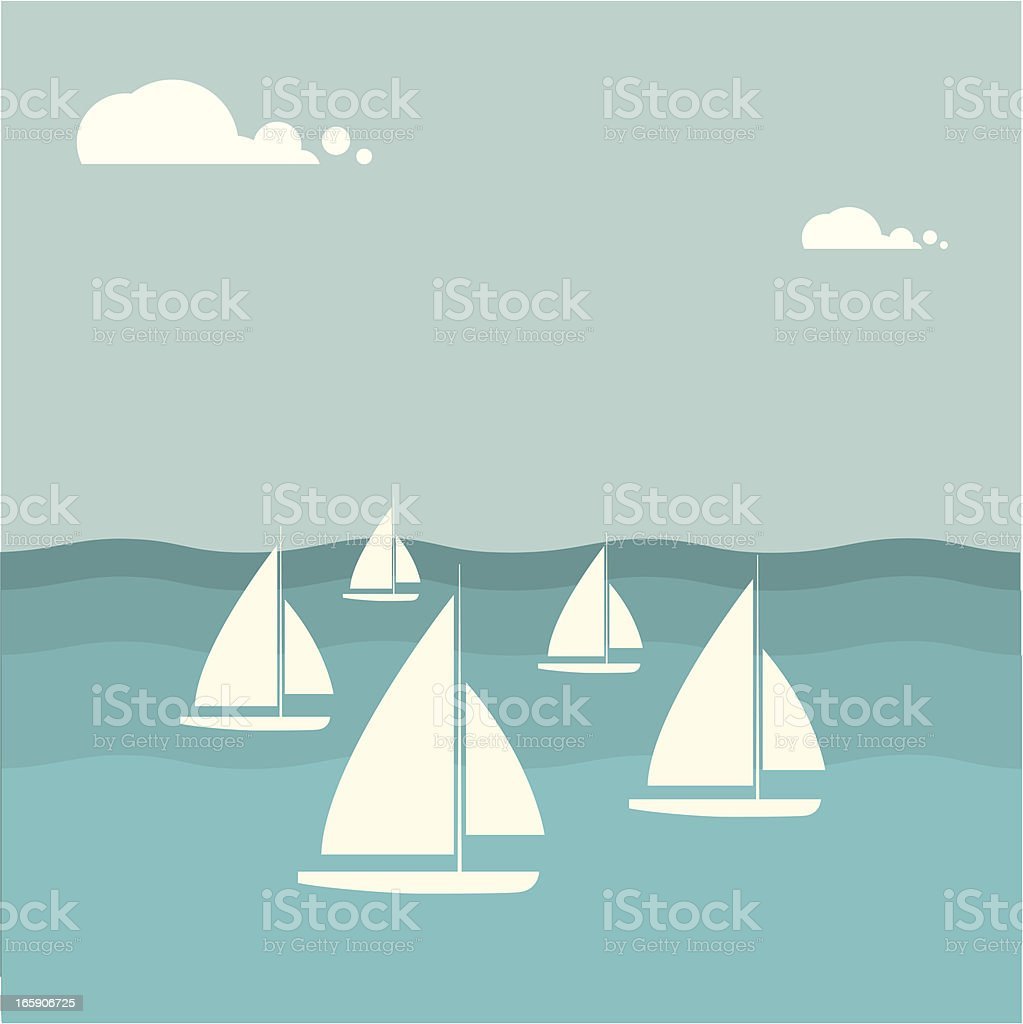 Group of sailboats on the water with clouds in background vector art illustration