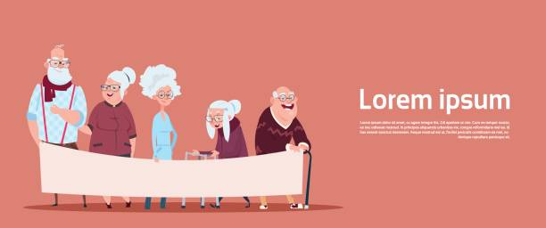 group of senior people holding empty banner with copy space modern grandfather and grandmother full length - old man smiling backgrounds stock illustrations, clip art, cartoons, & icons