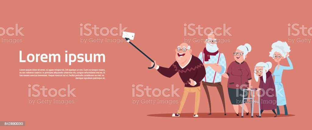 Group Of Senior People Taking Selfie Photo With Self Stick Modern Grandfather And Grandmother vector art illustration