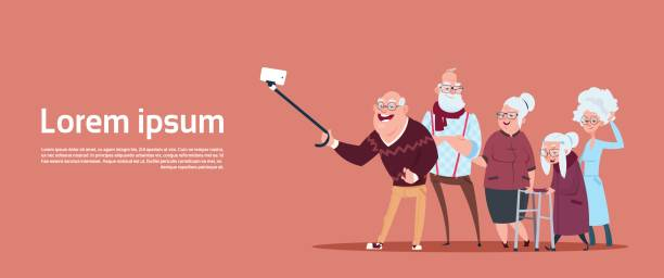 group of senior people taking selfie photo with self stick modern grandfather and grandmother - old man illustration pictures stock illustrations, clip art, cartoons, & icons