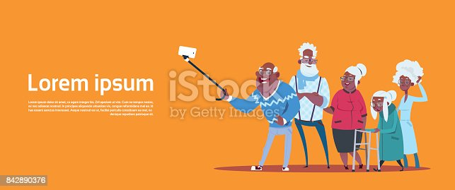 istock Group Of Senior People Taking Selfie Photo With Self Stick Modern African American Grandfather And Grandmother 842890376