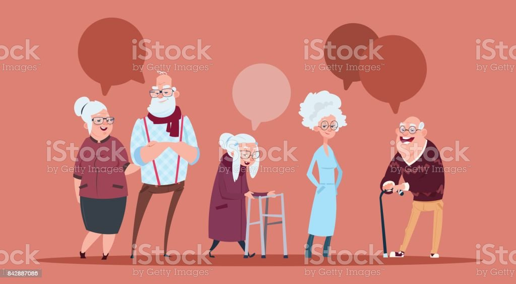 Group Of Senior People With Chat Bubble Walking With Stick Modern Grandfather And Grandmother Full Length vector art illustration