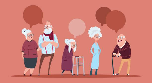 group of senior people with chat bubble walking with stick modern grandfather and grandmother full length - geriatrics stock illustrations, clip art, cartoons, & icons