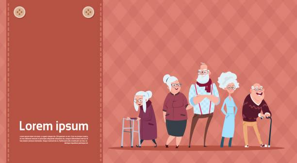 group of senior people with stick modern grandfather and grandmother full length - old man smiling backgrounds stock illustrations, clip art, cartoons, & icons