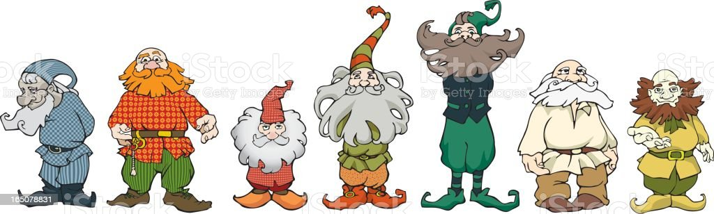 Group of seven gnomes royalty-free stock vector art