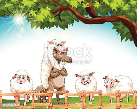 istock Group of sheeps with a wolf 469201104