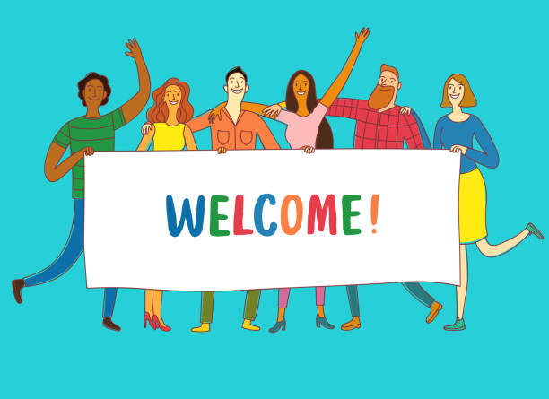 Group of six happy friends holding big banner with welcome us title. Group of six happy friends, boys and girls, holding big banner. Including Welcome title. Cartoon illustration for your design. greeting stock illustrations