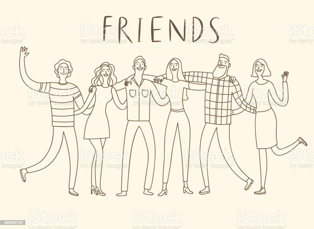 Group of six happy friends hugging each other. - illustrazione arte vettoriale