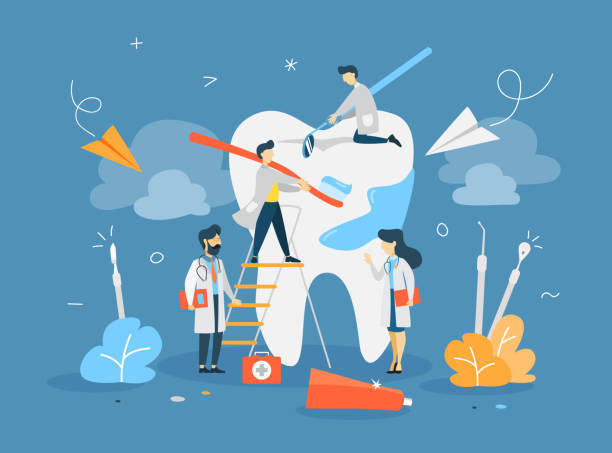 group of small dentists - dentist stock illustrations
