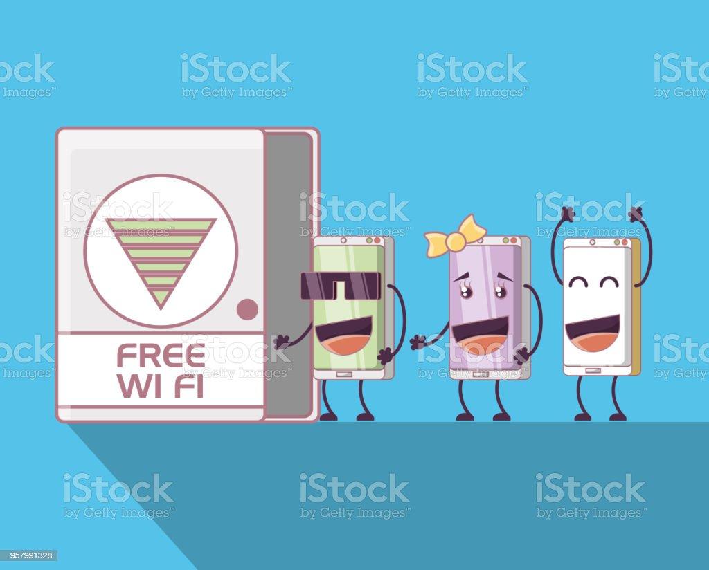 Ilustración Grupo Más Smartphones Personajes Y De Cómic QCorWdBex