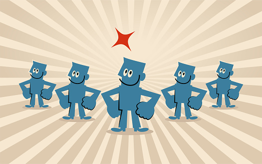 Group of smiling businessmen take the Hands-on-Hips pose (teamwork)
