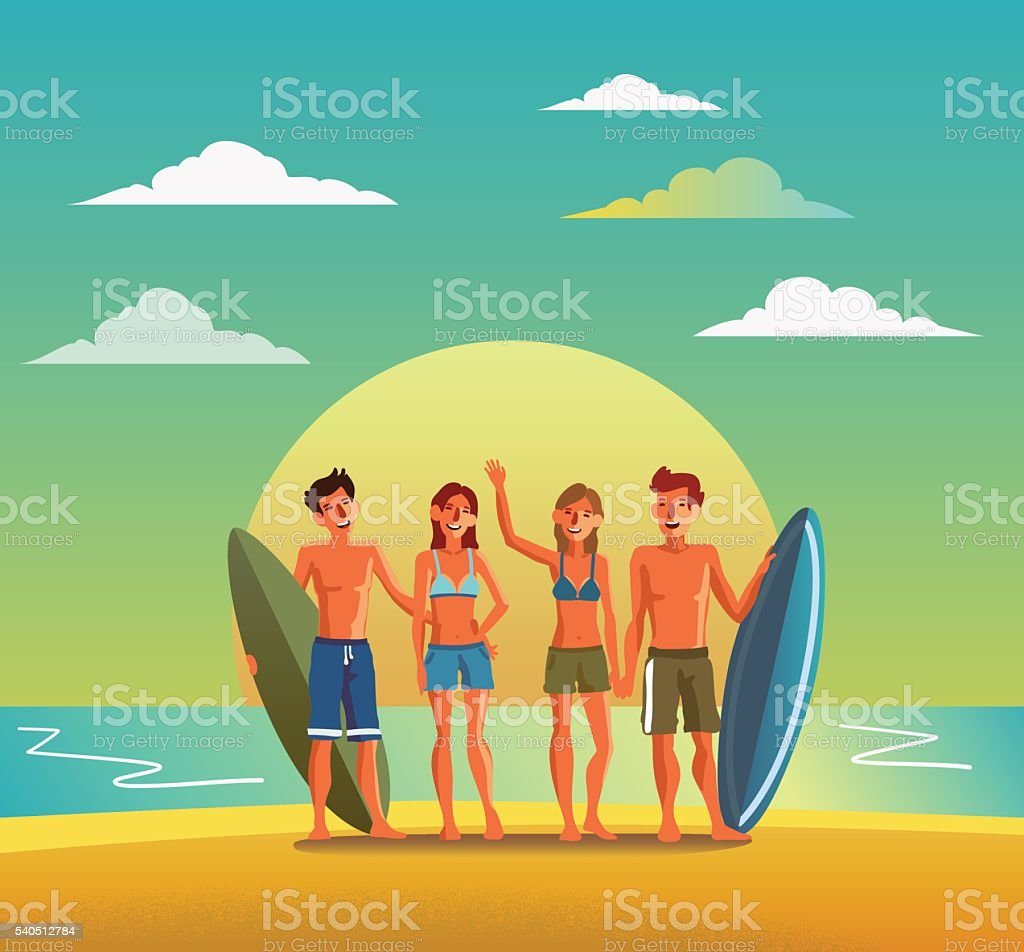 Group of smiling, happy, young friends with surfboards on beach vector art illustration