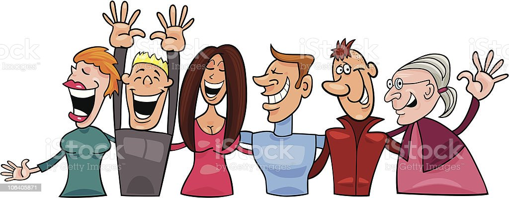 group of smiling people vector art illustration