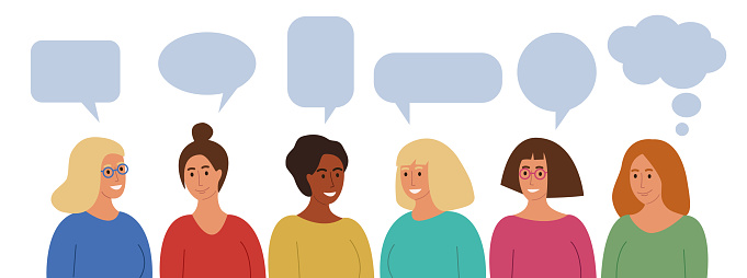 Group of smiling women in colorful  clothes. Blank empty speech bubbles. Happy girls talking.