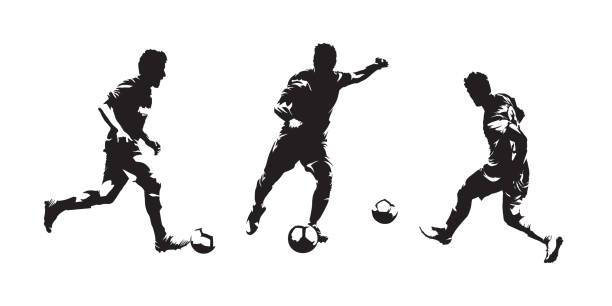 bildbanksillustrationer, clip art samt tecknat material och ikoner med grupp av fotbollspelare isolerade vektor silhuetter. uppsättning av europeisk fotboll tuschteckningar - fotboll