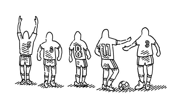 Group Of Soccer Players Numbers On Trikot Drawing Hand-drawn vector drawing of Group Of Soccer Players with Numbers On their Trikot. Black-and-White sketch on a transparent background (.eps-file). Included files are EPS (v10) and Hi-Res JPG. cartoon character figure stock illustrations
