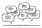 Hand-drawn vector drawing of a Group Of Speech Bubbles. Black-and-White sketch on a transparent background (.eps-file). Included files are EPS (v10) and Hi-Res JPG.
