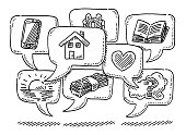 Group Of Speech Bubbles With Icons Drawing